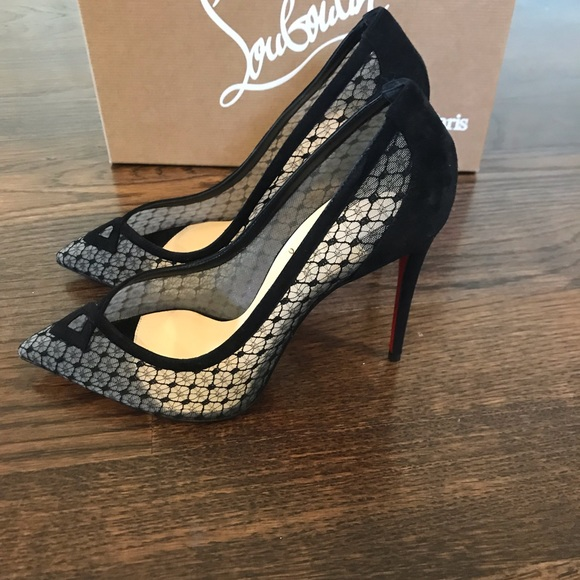 fda4a488658 Christian Louboutin Mesh Lace and Suede Pumps